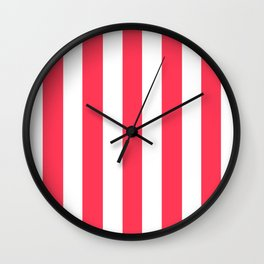 Sizzling Red pink - solid color - white vertical lines pattern Wall Clock