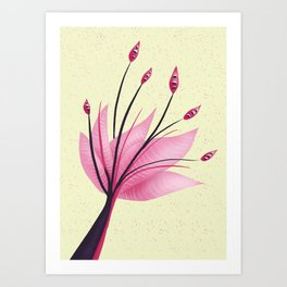 Pink Abstract Water Lily Flower Art Print