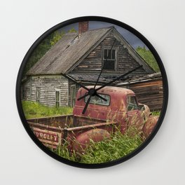 Old Chevy Pickup and Abandoned Farm House Wall Clock