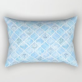 Watercolor Arabesque Tiles with Art Nouveau Focal Designs in Blue Rectangular Pillow