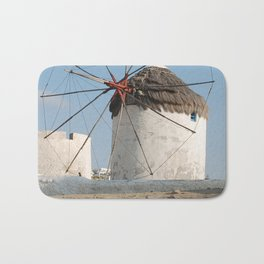 Stone Windmill on Mykonos Island Greece Bath Mat
