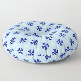geometric flower 94 blue and white Floor Pillow