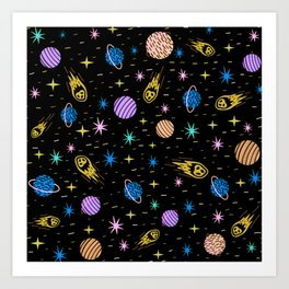 Galaxy Wallpaper with Planets, Stars and Asteroids Art Print