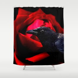 Crow Black Bird Red Rose Gothic Home Decor Surreal Art A585 Shower Curtain