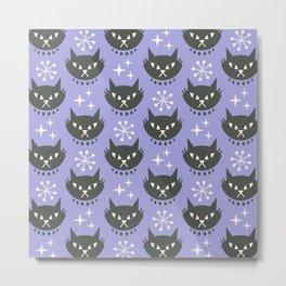 Retro Mid Century Modern Cat Pattern 329 Lavender Metal Print