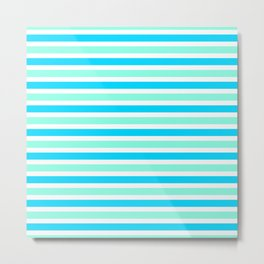 Cyan and Turquoise Stripes Metal Print