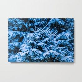 Winter Snow Christmas Tree Metal Print