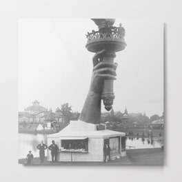 Statue Of Liberty, 1876, right arm with torch on display Liberty Island black and white photograph Metal Print