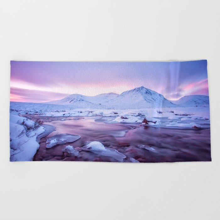Freezing Mountain Lake Landscape Beach Towel
