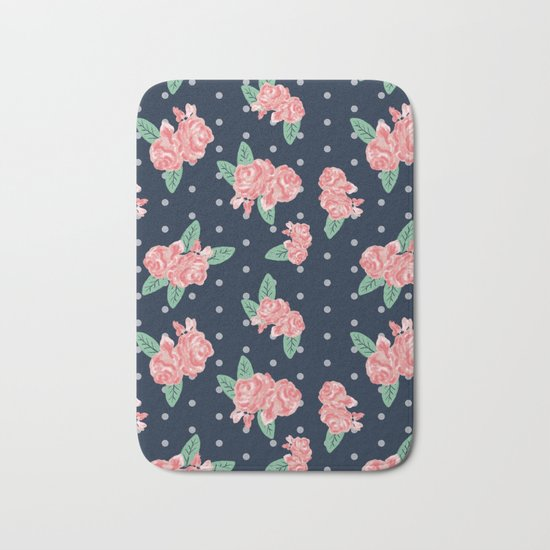 Brooklin - Navy dots floral bouquet minimal boho abstract flowers Bath Mat