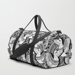 Stylish Swans in Monochrome Black and White Duffle Bag