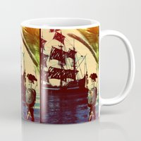 pirate ship Mugs featuring pirate ship by Ancello