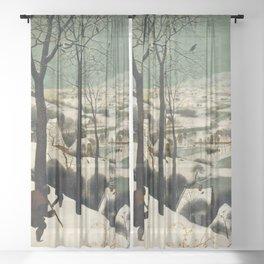 The Hunters in the Snow, Pieter Bruegel the Elder Sheer Curtain