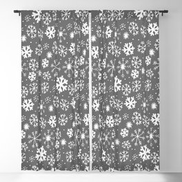Snowflake Snowstorm With Silver Grey Gray Background Blackout Curtain
