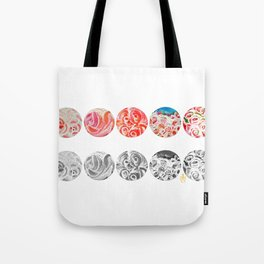 Roses Are Cream, Five Marbles and Circles of Shadow Reflection Tote Bag