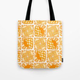 Abstract seamless pattern of stripes and circles. In yellow and orange tones, doodle style Tote Bag