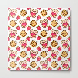 Cute funny sweet adorable happy Kawaii toast with raspberry jam and butter, chocolate chip cookies and red ripe summer strawberries cartoon fantasy white pattern design Metal Print