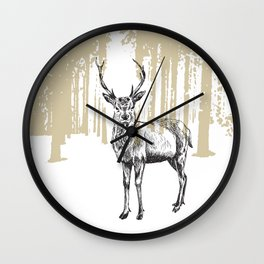 Deer illustration black and white Wall Clock