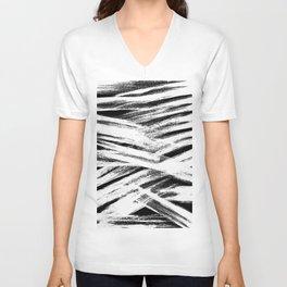 White brush Unisex V-Neck