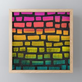 Rainbow Ombre Brick Framed Mini Art Print