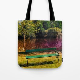 Bench at the pond Tote Bag