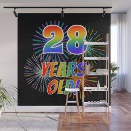 """28th Birthday Themed """"28 YEARS OLD!"""" w/ Rainbow Spectrum Colors + Vibrant Fireworks Inspired Pattern Wall Mural"""