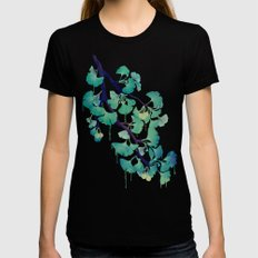 O Ginkgo (in Green) Womens Fitted Tee Black MEDIUM