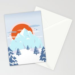 Winter breeze in Alpes Stationery Cards