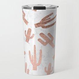 Modern rose gold cactus cacti pattern on white marble Travel Mug