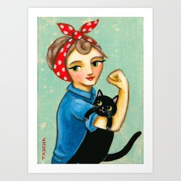 "Rosie the Riveter with Black Cat ""We can do it"" painting by Tascha Art Print"