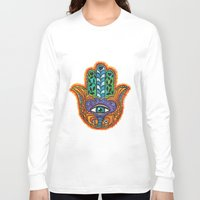 hamsa Long Sleeve T-shirts featuring Hamsa  by Fortissimo6