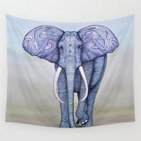 ornate elephant Wall Tapestries featuring Ornate Elephant by Katelynn Clarey