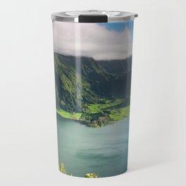 Vulcanic lake on the Azores island in Portugal Travel Mug