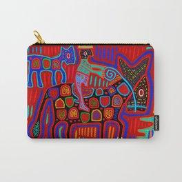 Vaquero y Caballos - Red Blue Orange - Kuna Indian Mola Carry-All Pouch