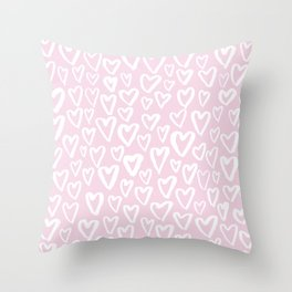 Pink blush hearts Throw Pillow