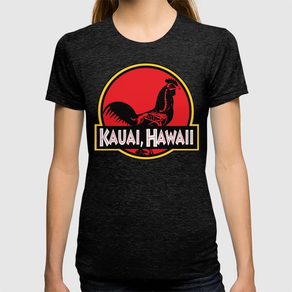 723e7d8a Kauai, Hawaii Jurassic Park Rooster T-shirt by dhansonart | Society6