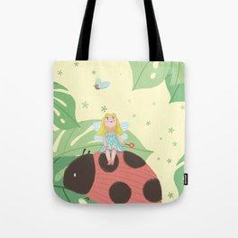 Girl On Ladybug Tote Bag