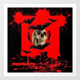 BAT INFESTED HAUNTED SKULL ON BLEEDING RED ON RED  ART Art Print