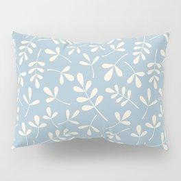Cream on Blue Assorted Leaf Silhouette Pattern Pillow Sham