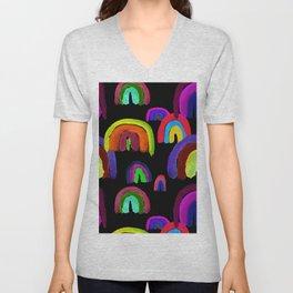Vivid Watercolor Rainbows in Black Unisex V-Neck