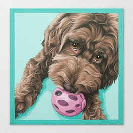 Labradoodle Dog with a Ball Art, Cute Puppy with Toy, Labradoodle Portrait Canvas Print