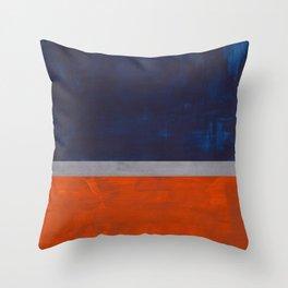 Minimalist Mid Century Rothko Color Field Navy Blue Dark Orange Grey Accent Square Color Block Throw Pillow