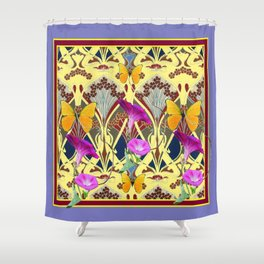 Decorative Cream Color & Fuchsia Morning Glories Floral Yellow Butterflies Shower Curtain