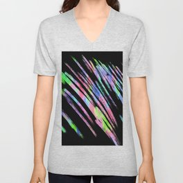 Abstract pink teal lime green black watercolor brushstrokes Unisex V-Neck