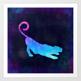 PANTHER IN SPACE // Animal Graphic Art // Watercolor Canvas Painting // Modern Minimal Cute Art Print