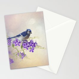 Blue Jay Perching on Blue Flowers watercolor painting Stationery Cards