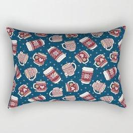 Cozy Red Mugs Rectangular Pillow