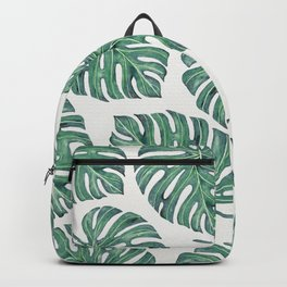 Watercolor Palm Leaves - Dark Green Backpack