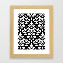 Scroll Damask Large Pattern White on Black Framed Art Print