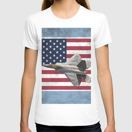 F22 Stealth Fighter Jet American Flag T-shirt